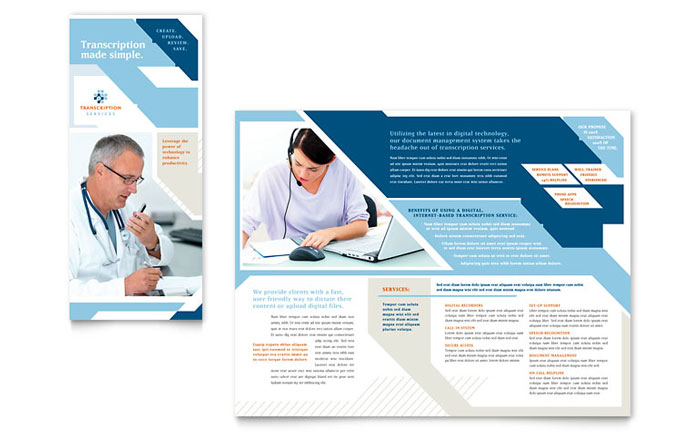 Medical Transcription Tri Fold Brochure Template - Word  Publisher - Medical Templates For Word