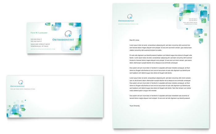 Orthodontist Business Card  Letterhead Template - Word  Publisher - Free Business Letterhead Templates For Word