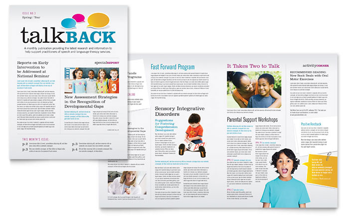 Speech Therapy Education Newsletter Template - Word  Publisher - office newsletter