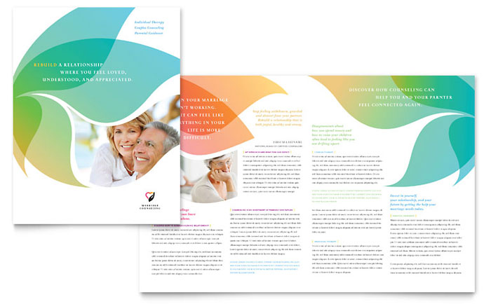 Marriage Counseling Brochure Template - Word \ Publisher - healthcare brochure
