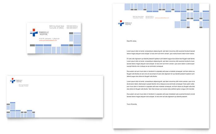 Hospital Business Card \ Letterhead Template - Word \ Publisher - letterhead format in word