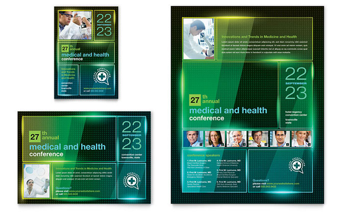 Medical Conference Flyer  Ad Template - Word  Publisher