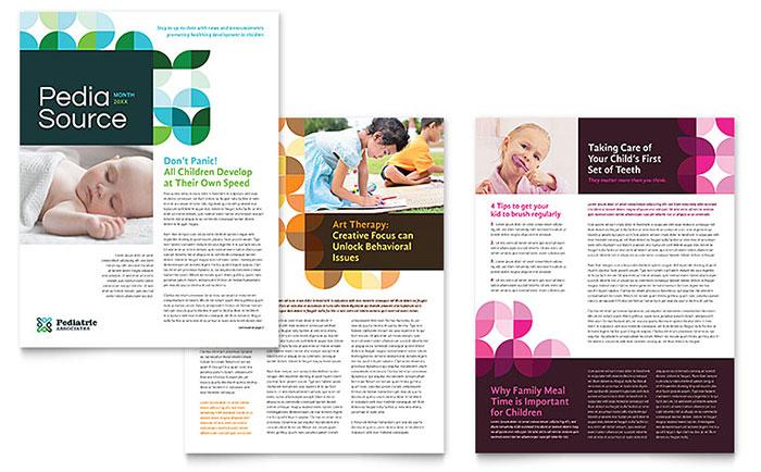 Pediatric Doctor Newsletter Template - Word  Publisher - newsletter sample in word