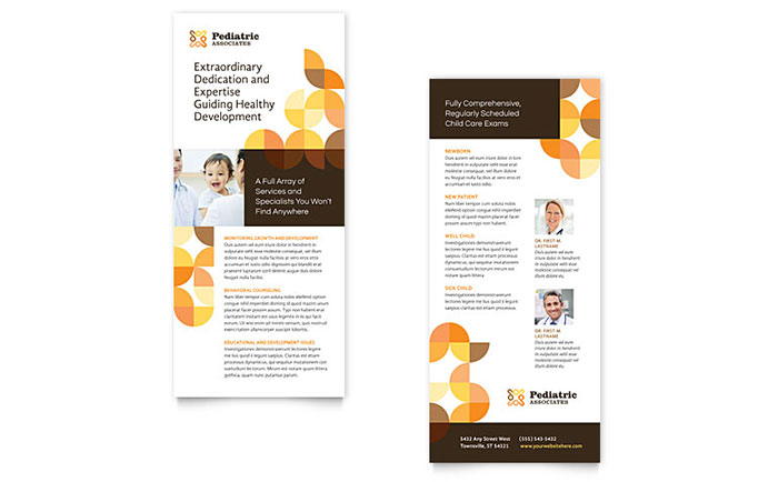 Pediatric Doctor Rack Card Template - Word  Publisher