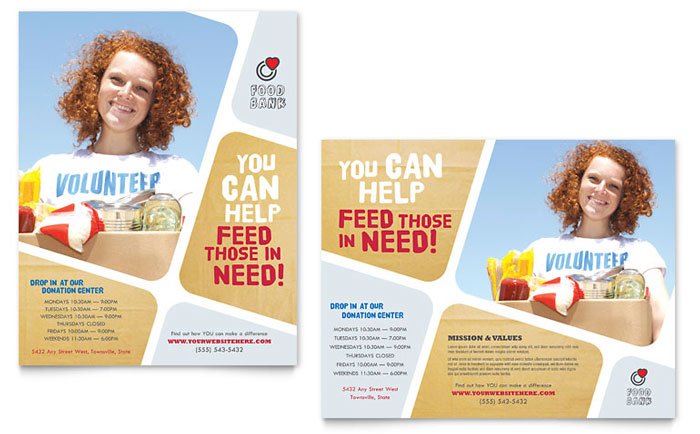 Food Bank Volunteer Poster Template - Word  Publisher