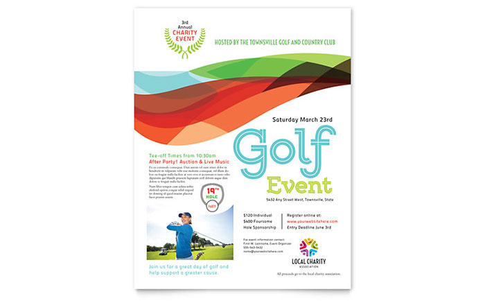 Charity Golf Event Flyer Template - Word  Publisher