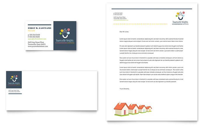 Homeowners Association Business Card  Letterhead Template - Word