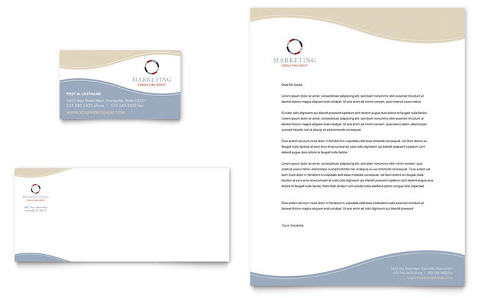 Marketing Consulting Group Business Card  Letterhead Template