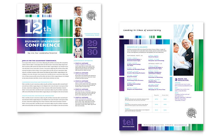 Business Leadership Conference Datasheet Template - Word  Publisher - one sheet template word