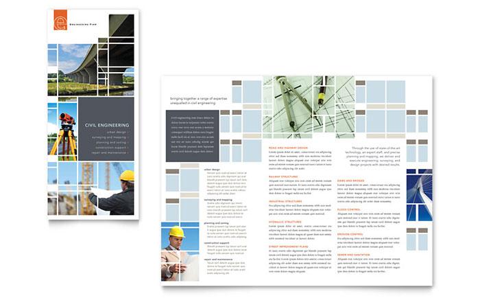 Civil Engineers Tri Fold Brochure Template - Word \ Publisher - microsoft word tri fold brochure