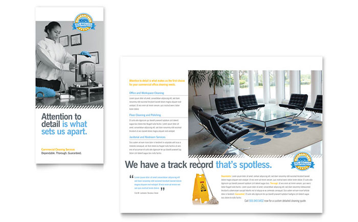 Janitorial  Office Cleaning Tri Fold Brochure Template - Word