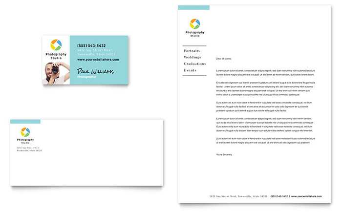 Photographer Business Card  Letterhead Template - Word  Publisher