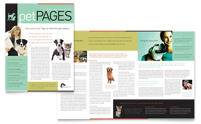 Veterinary Clinic Newsletter Template - Word  Publisher - news letter formats