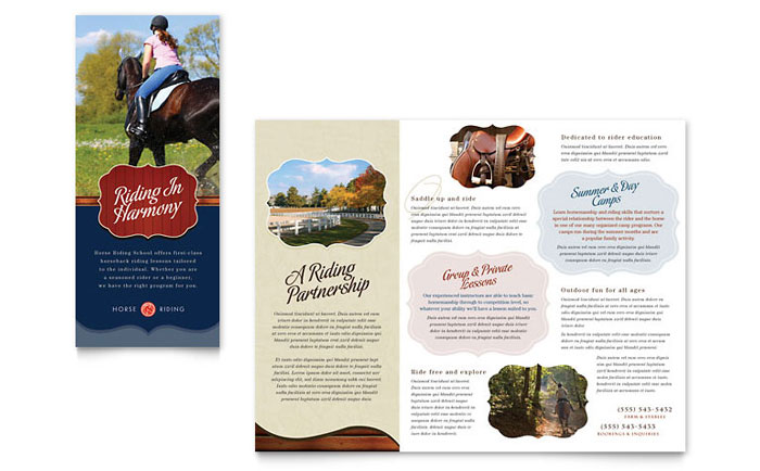 Horse Riding Stables  Camp Tri Fold Brochure Template - Word