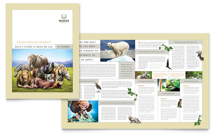 Nature  Wildlife Conservation Brochure Template - Word  Publisher