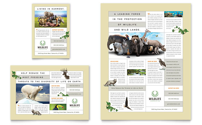 Nature  Wildlife Conservation Flyer  Ad Template - Word  Publisher