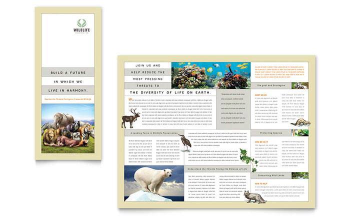 Nature  Wildlife Conservation Tri Fold Brochure Template - Word
