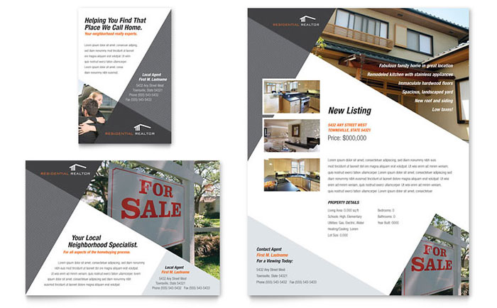 Contemporary  Modern Real Estate Flyer  Ad Template - Word  Publisher