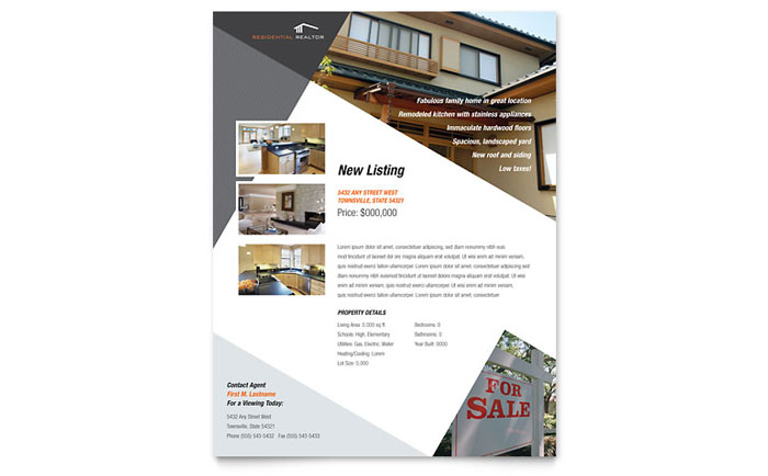 Contemporary  Modern Real Estate Flyer Template - Word  Publisher
