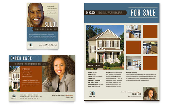 Real Estate Agent - Flyer Templates - Word  Publisher