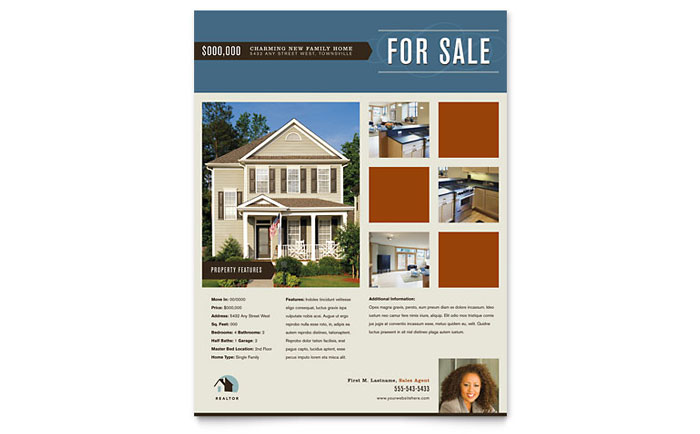 Residential Realtor Flyer Template - Word  Publisher - for sale word template