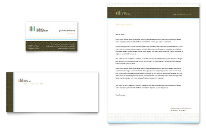 Urban Real Estate Business Card  Letterhead Template - Word  Publisher