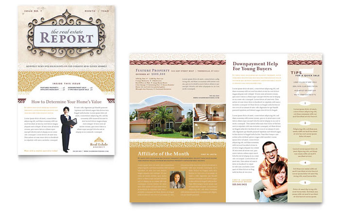 Luxury Real Estate Newsletter Template - Word  Publisher