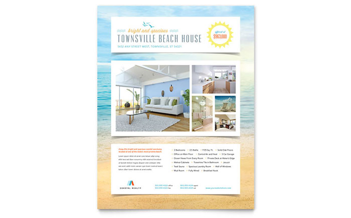 Beach House Flyer Template - Word  Publisher