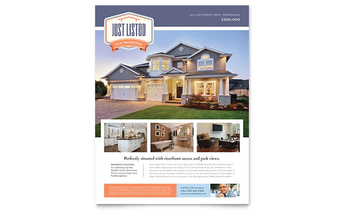 New Property Flyer Template - Word  Publisher - home sale flyer template
