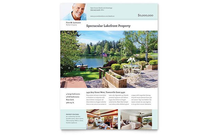 Lakefront Property Flyer Template - Word  Publisher