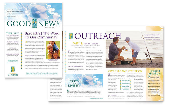 Christian Church Newsletter Template - Word  Publisher - Newsletter Format