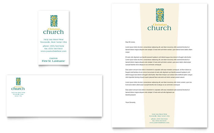 Christian Church Business Card  Letterhead Template - Word  Publisher