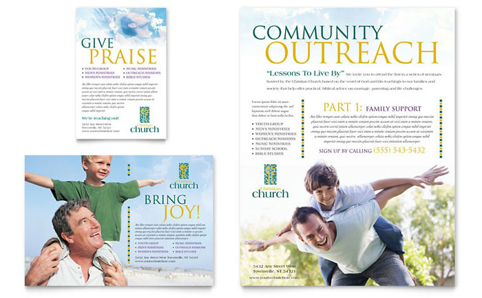Christian Church Flyer  Ad Template - Word  Publisher