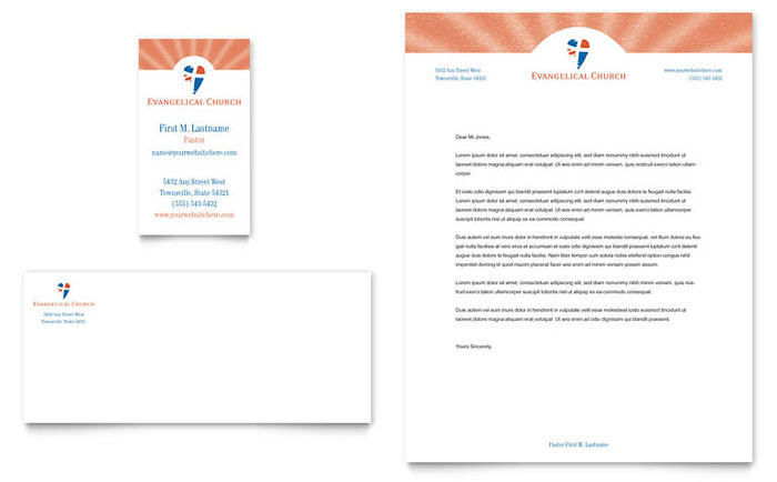 Evangelical Church Business Card  Letterhead Template - Word