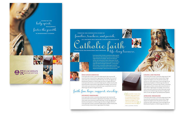 Catholic Parish and School Brochure Template - Word  Publisher