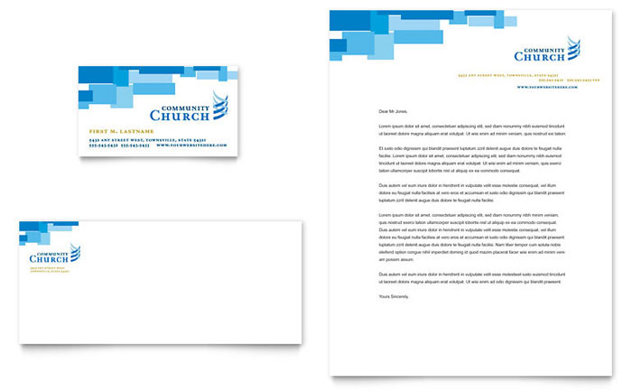 Community Church Business Card  Letterhead Template - Word  Publisher