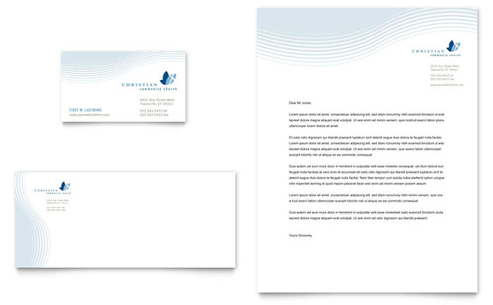 Christian Ministry Business Card  Letterhead Template - Word