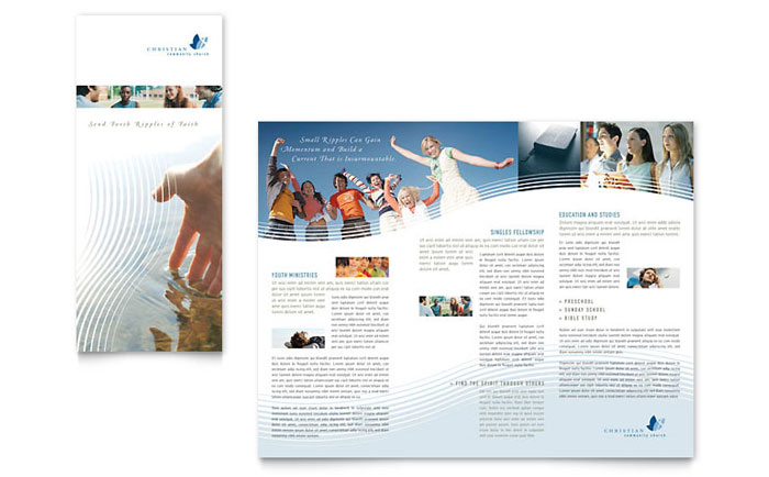 Christian Ministry Tri Fold Brochure Template - Word  Publisher