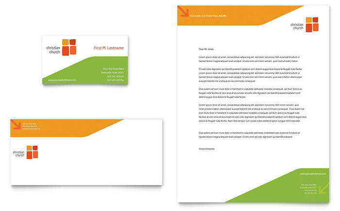 Church Youth Ministry Business Card  Letterhead Template - Word