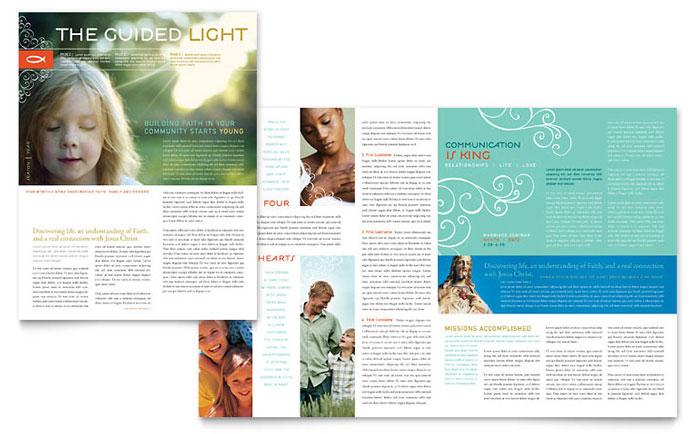 Christian Church Religious Newsletter Template - Word  Publisher - religious brochure