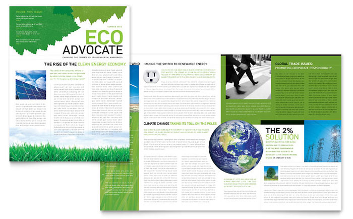 Environmental Non Profit Newsletter Template - Word  Publisher - word templates for newsletter