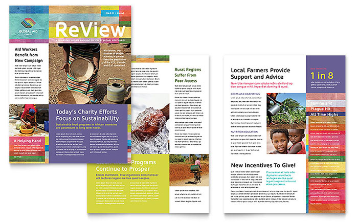 Humanitarian Aid Organization Newsletter Template - Word  Publisher