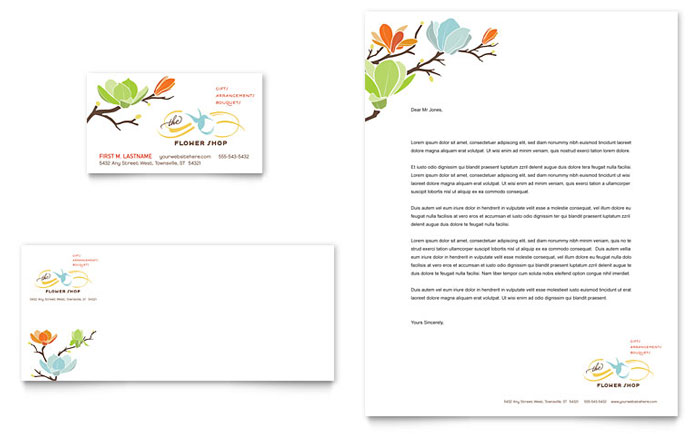 Flower Shop Business Card  Letterhead Template - Word  Publisher