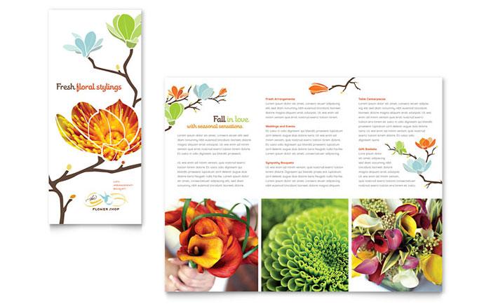 Flower Shop Tri Fold Brochure Template - Word \ Publisher - microsoft word tri fold brochure