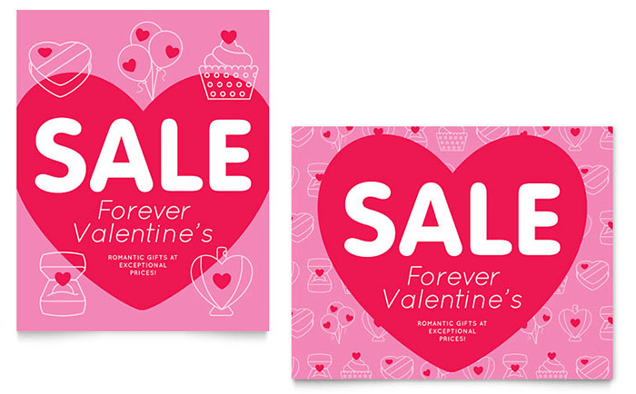 Valentine\u0027s Day Sale Poster Template - Word  Publisher - for sale word template