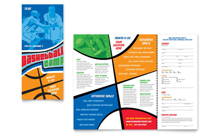 Basketball Sports Camp Brochure Template - Word  Publisher - brochures templates word