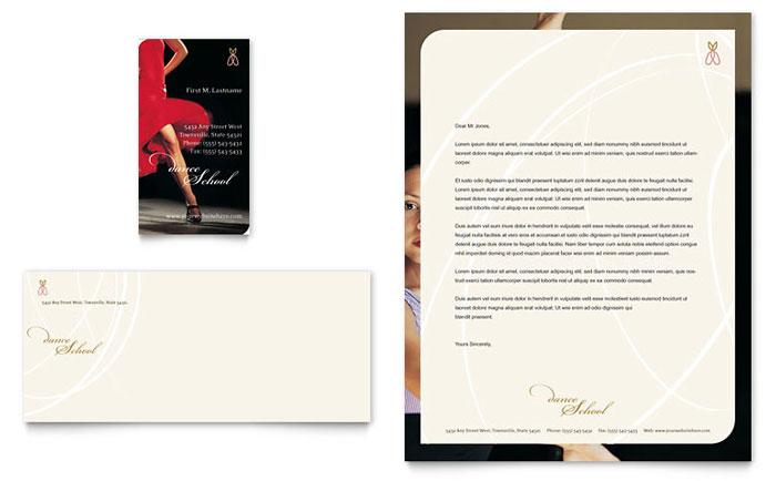 Dance School Business Card  Letterhead Template - Word  Publisher