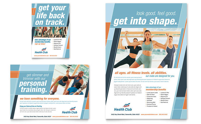 Health  Fitness Gym Flyer  Ad Template - Word  Publisher - Fitness Brochure