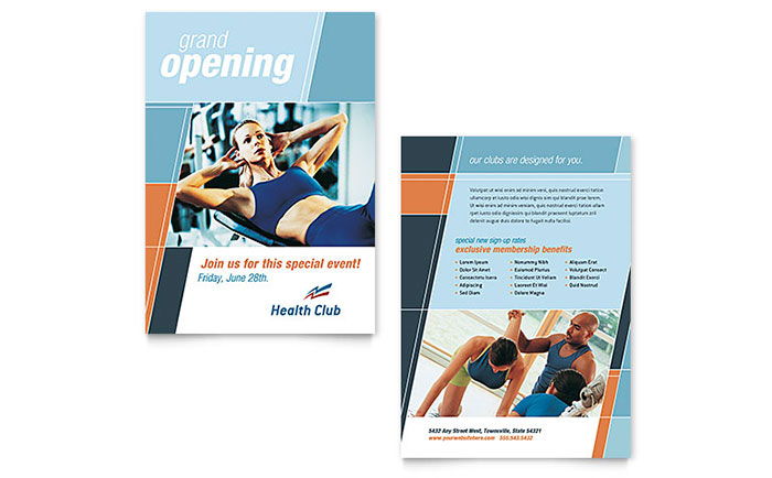 Health  Fitness Gym Announcement Template - Word  Publisher - fitness brochure template