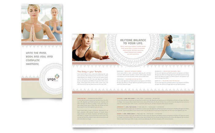 Pilates  Yoga Tri Fold Brochure Template - Word  Publisher